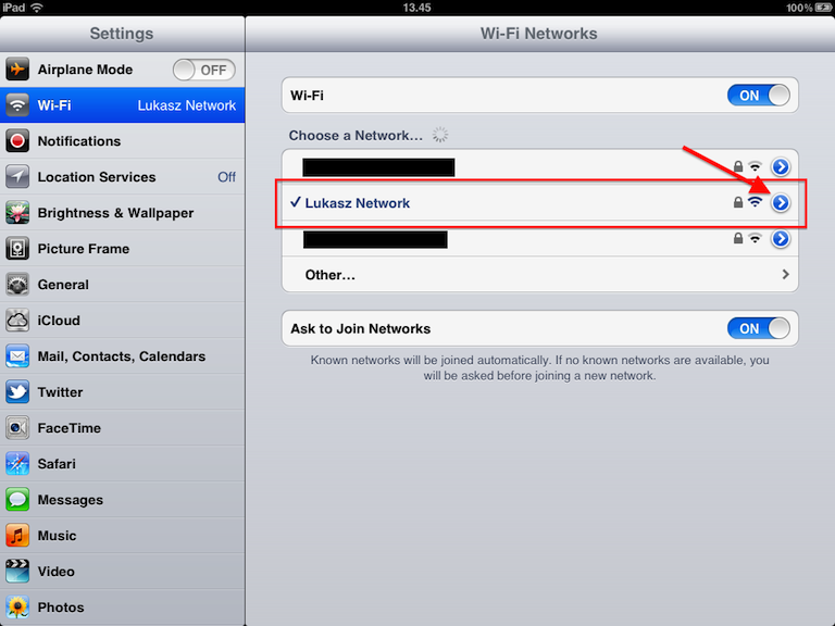 WIFI SETTINGS ON IPAD
